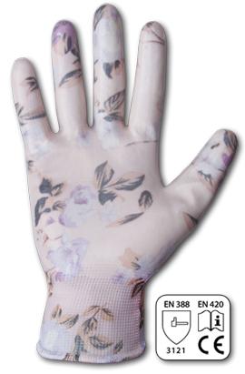 Фото-  Перчатки защитные NITROX FLOWERS нитрил, размер 8